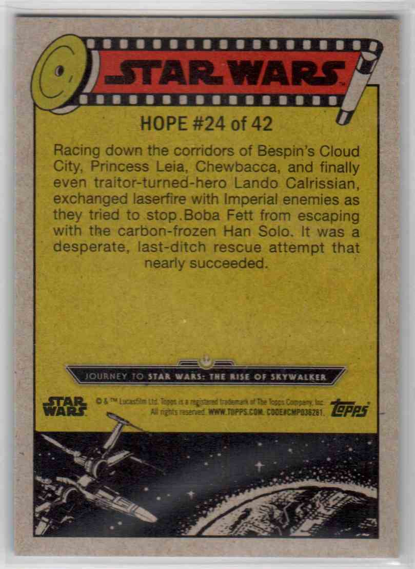 2019 Topps Star Wars Journey To Rise Of Skywalker Rescuing Han Solo #24 card back image