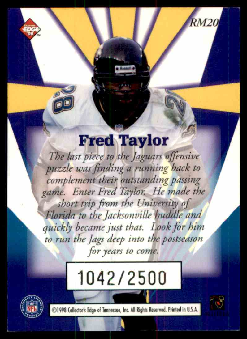 1998 Collectors Edge Fred Taylor card back image