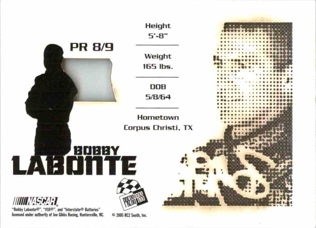 2005 Press Pass Stealth Bobby Labonte #PR8 card back image