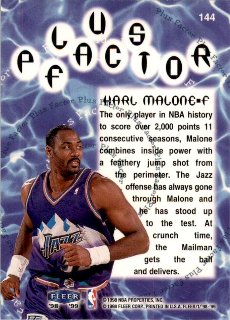 1998-99 Fleer Karl Malone Pf #144 card back image