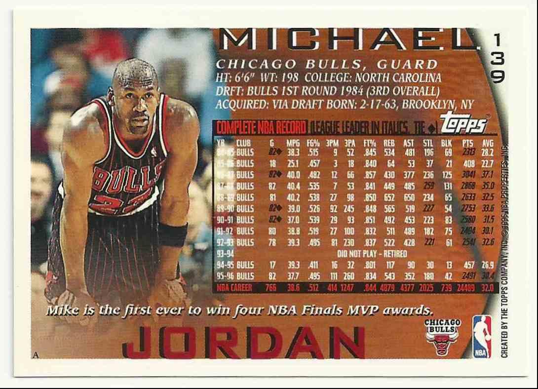 1996-97 Topps Michael Jordan #139 card back image