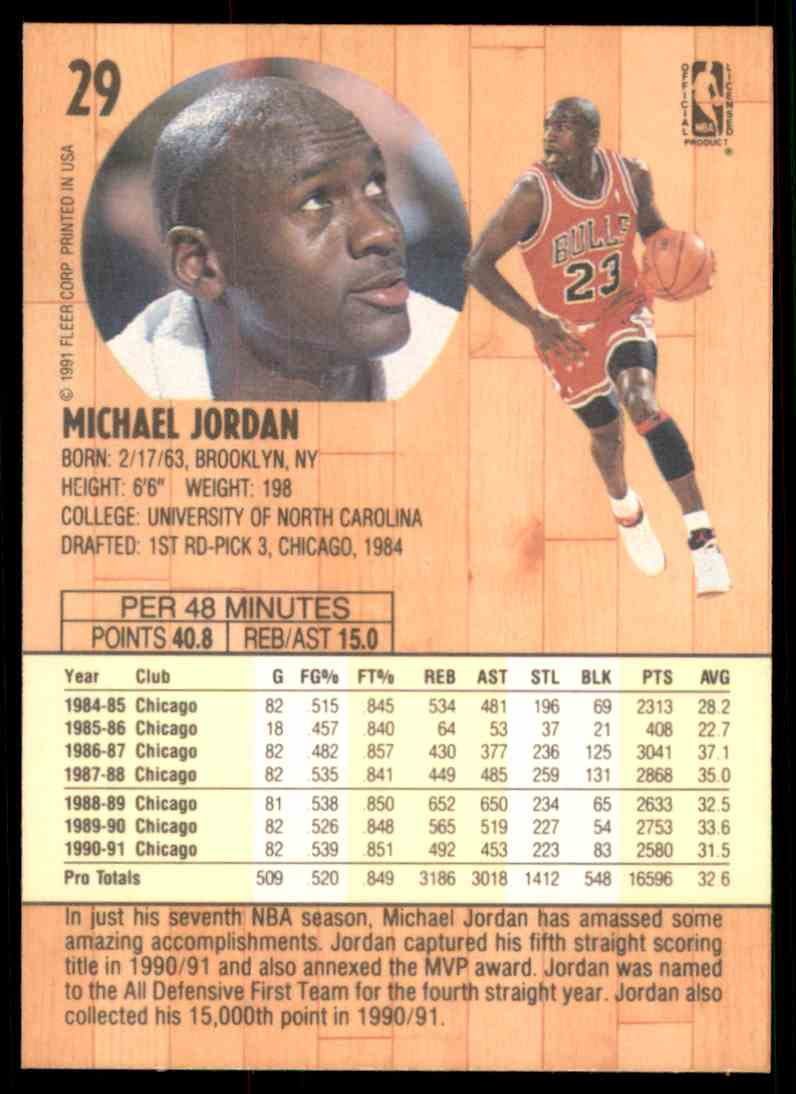 1991 92 Fleer Michael Jordan 29 On Kronozio