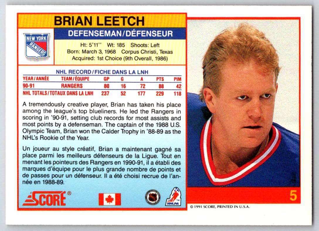 1991-92 Score Canadian Bilingual Brian Leetch #5 card back image
