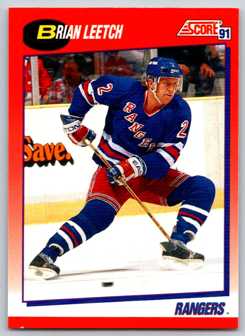 1991-92 Score Canadian Bilingual Brian Leetch #5 card front image