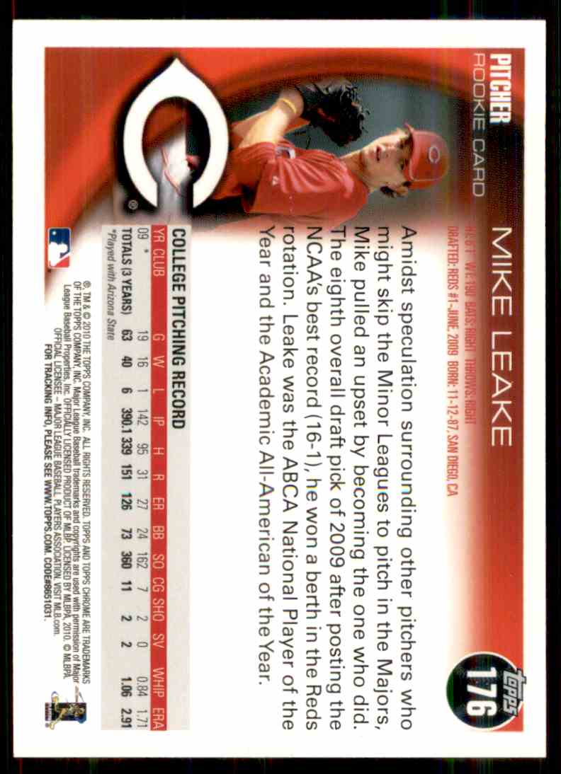 2010 Topps Chrome Mike Leake #176 card back image