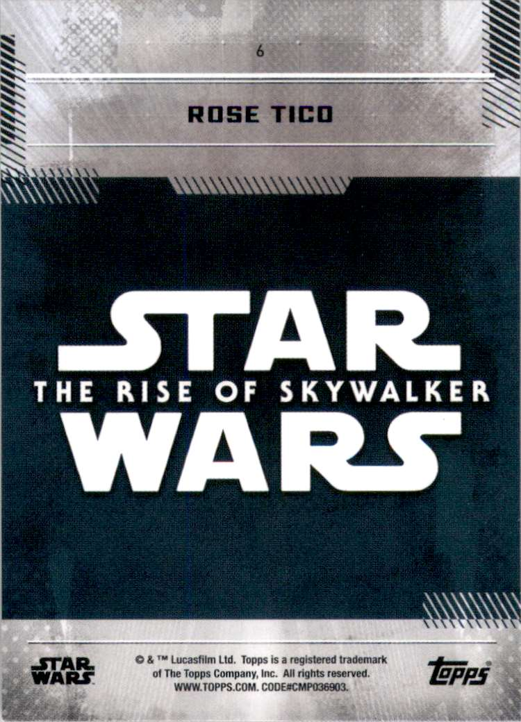 2019 Star Wars The Rise Of Skywalker Series One Rose Tico #6 card back image