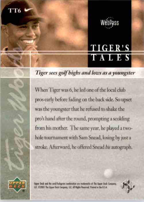 2001 Upper Deck Tiger's Tales Tiger Woods #TT6 card back image