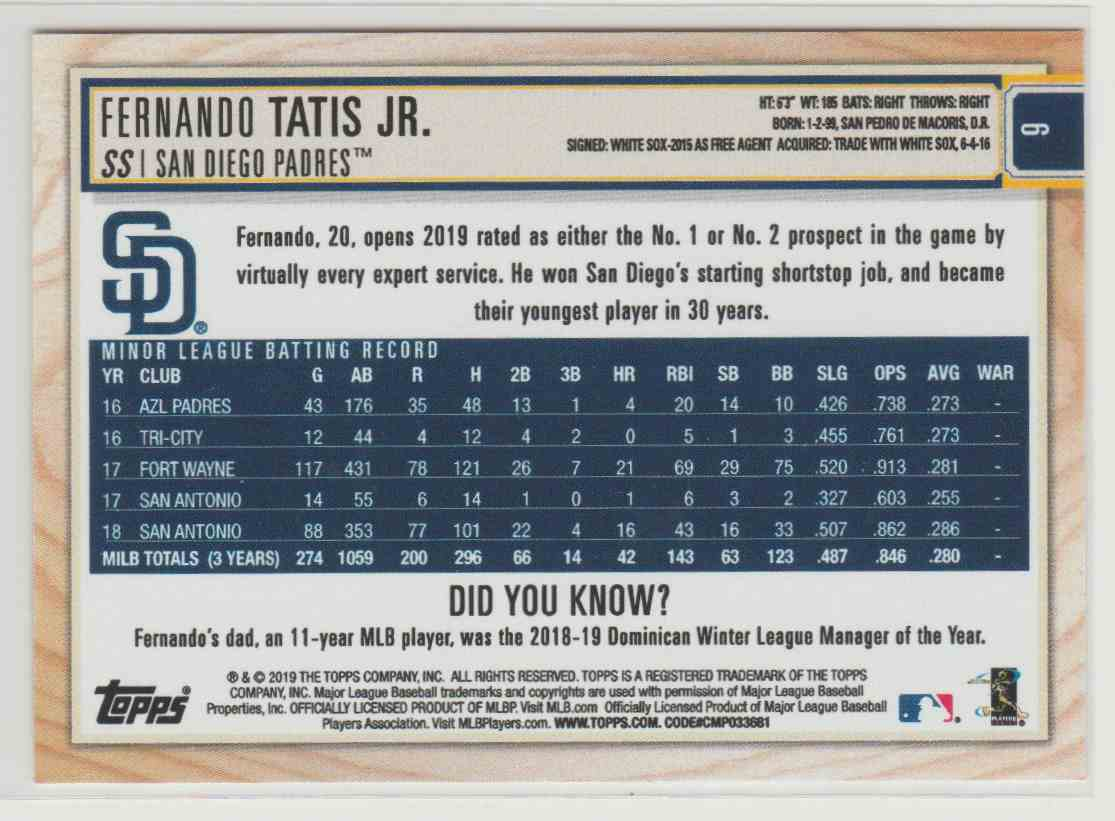 2019 Topps Big League Fernando Tatis JR. #6 card back image