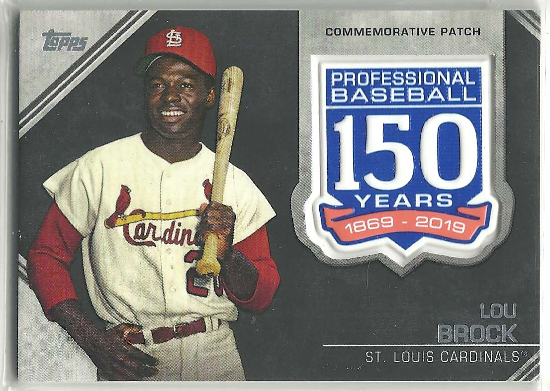 2019 Topps Update 150th Anniversary Manufactured Patch Lou Brock #AMP-LB card front image