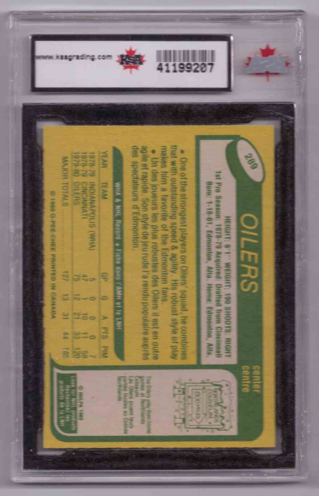 1980-81 O-Pee-Chee Mark Messier #289 card back image