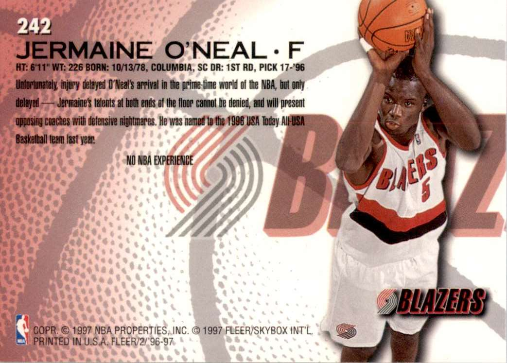 1996-97 Fleer Jermaine O'Neal RC #242 card back image
