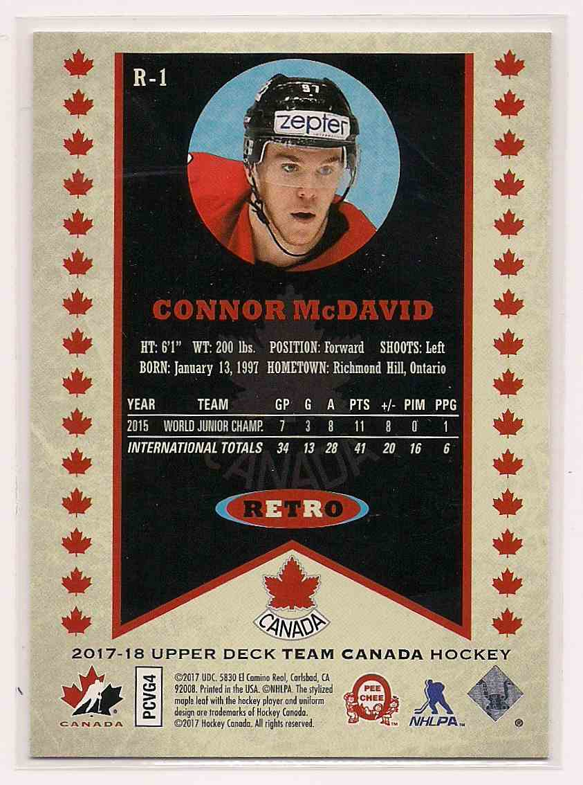 2017-18 Upper Deck Team Canada Retro Connor McDavid #R-1 card back image