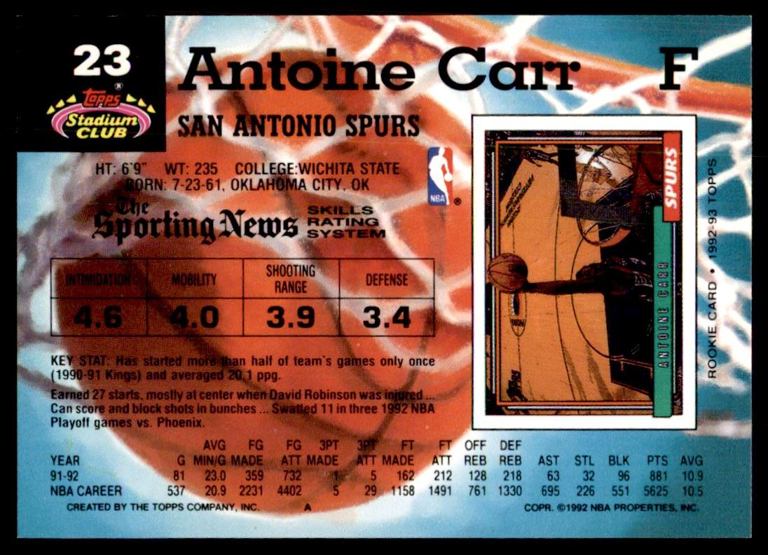 1992 93 Topps Stadium Club Main Set Antoine Carr 23 on Kronozio