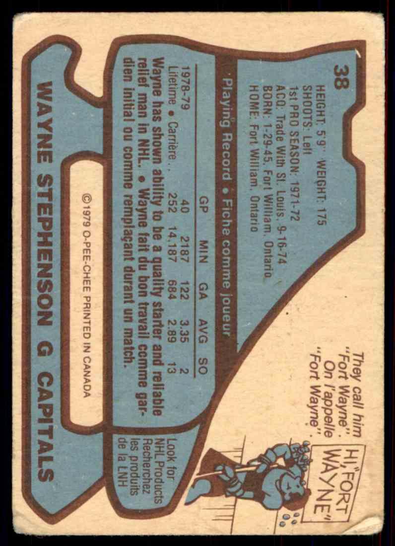 1979-80 O-Pee-Chee Wayne Stephenson #38 card back image