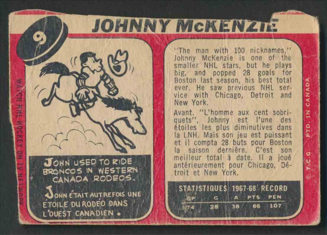 1968-69 O-Pee-Chee Johnny McKenzie #9 card back image