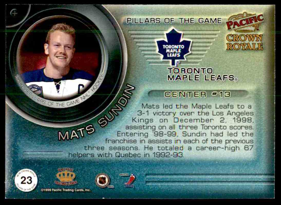 1999-00 Pacific Crown Royale Pillars Of The Game Mats Sundin