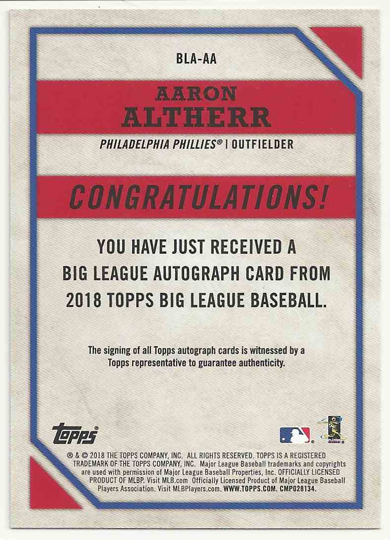 2018 Topps Big League Autographs Gold Aaron Altherr #BLA-AA card back image