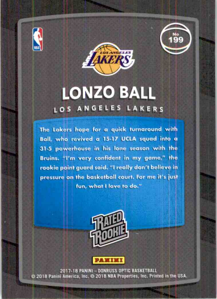 2017-18 Donruss Optic Rated Rookie Lonzo Ball #199 card back image