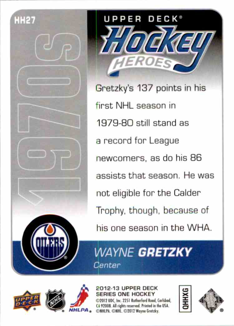 2012-13 Upper Deck Hockey Heroes Wayne Gretzky #HH27 card back image
