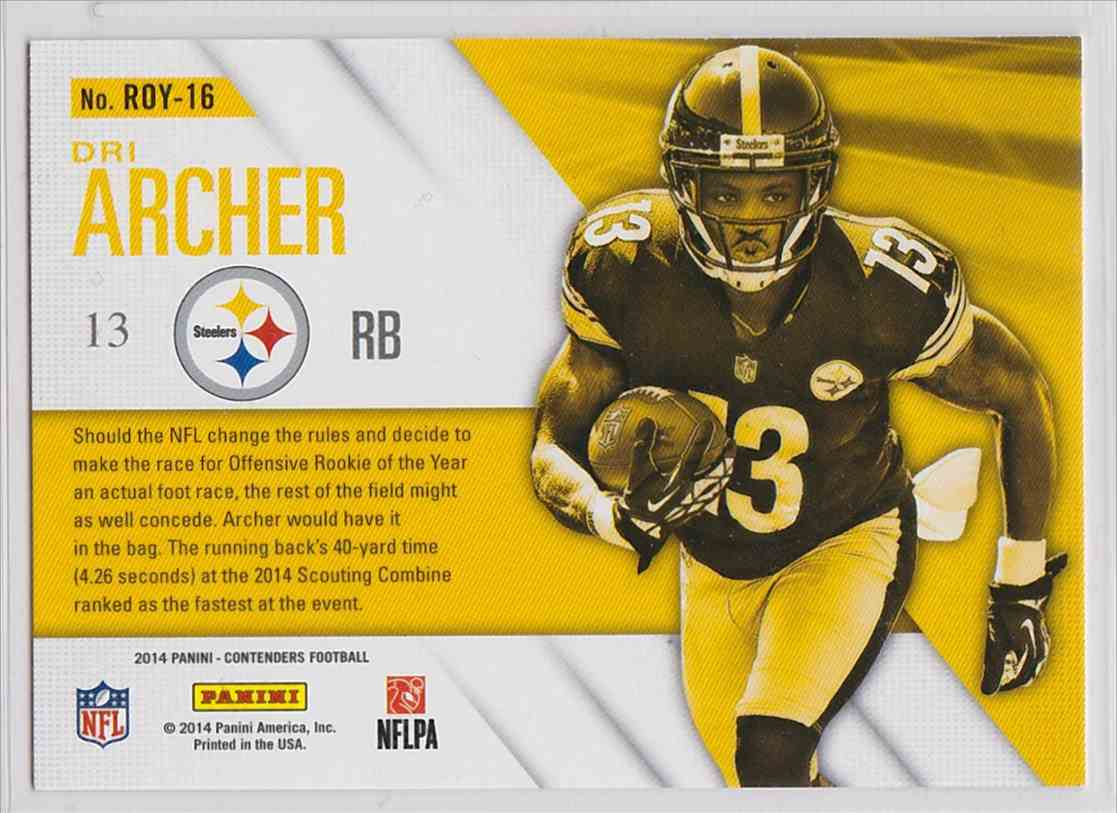 2014 Panini Contenders Rookie Of The Year Contenders Dri Archer #RDY-16 card back image
