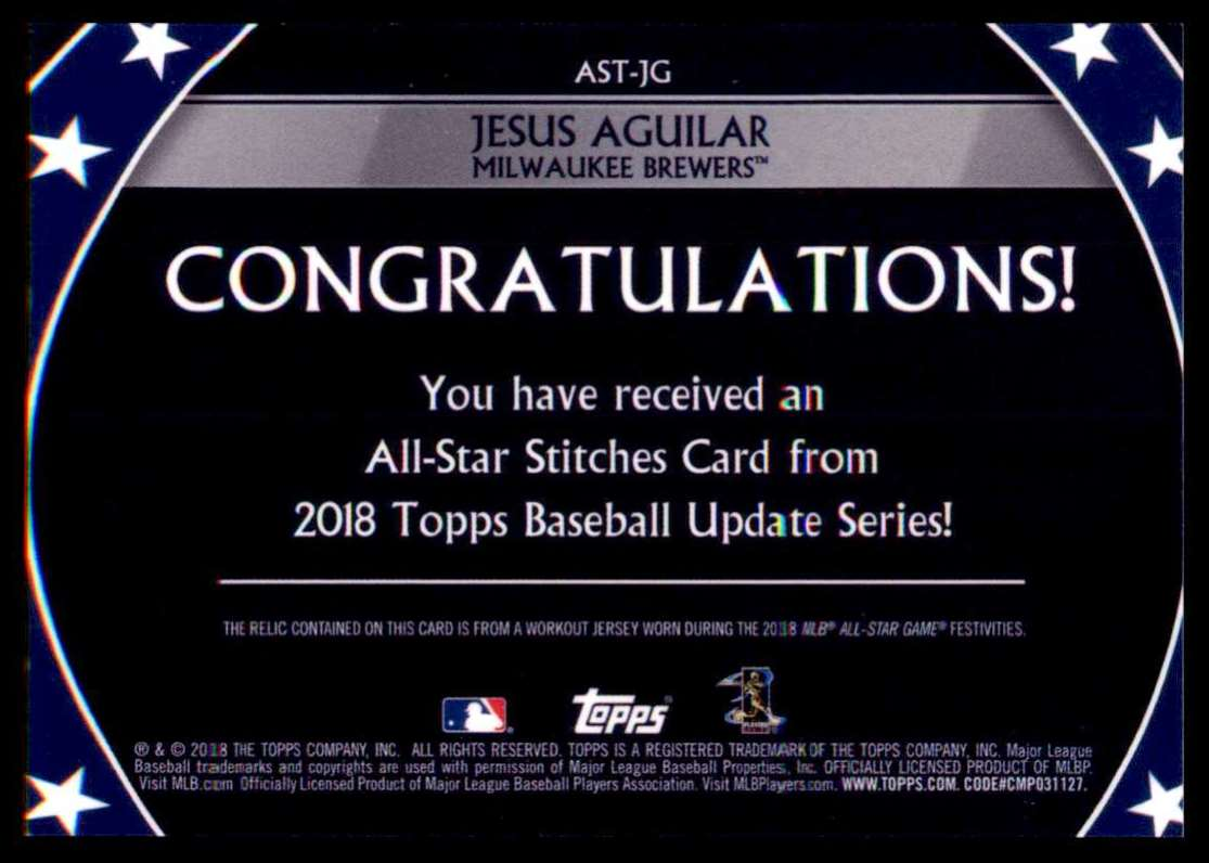2018 Topps Update Series All-Star Stitches Jesus Aguilar #AST-JG card back image