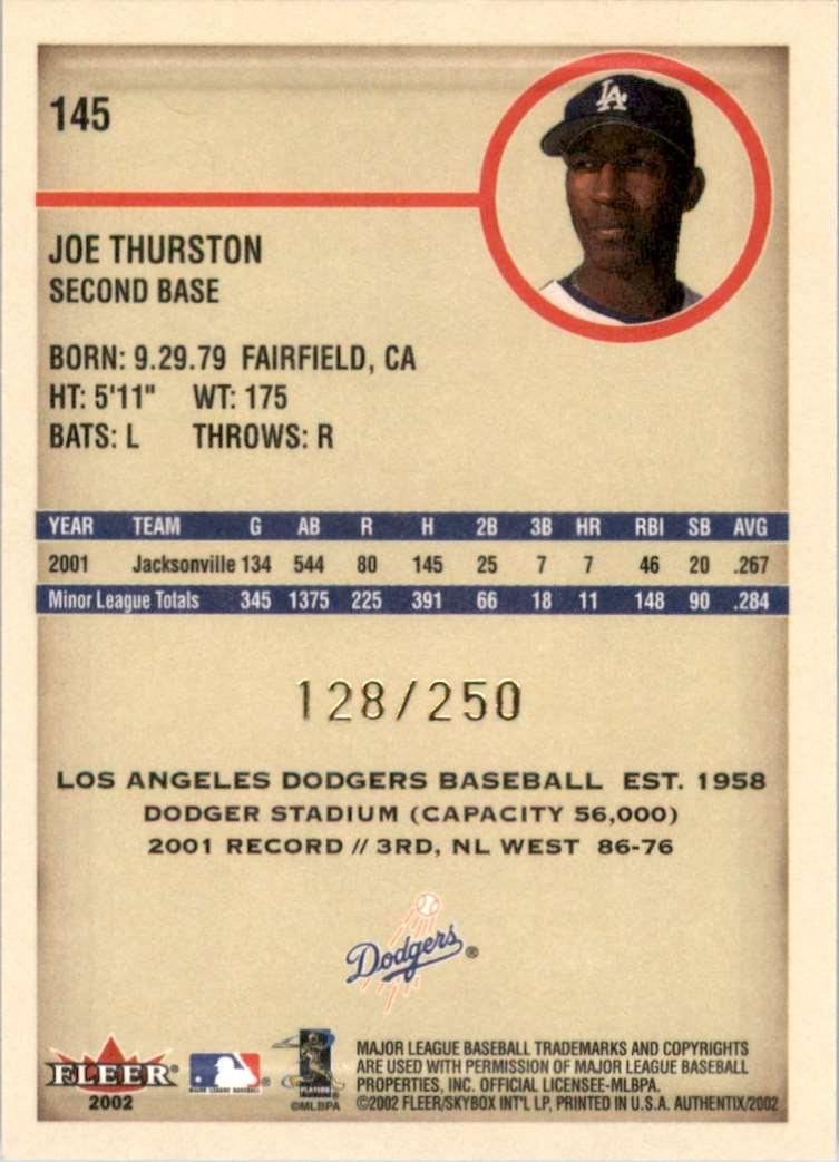 2002 Fleer Authentix Second Row Joe Thurston Fs #145 card back image