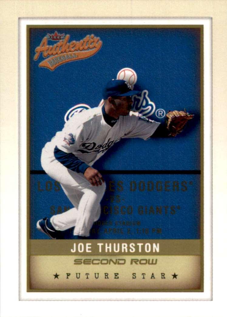 2002 Fleer Authentix Second Row Joe Thurston Fs #145 card front image