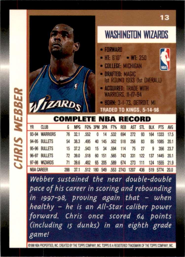 1998-99 Topps Chris Webber #13 card back image