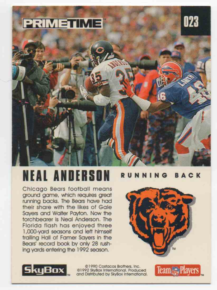 1992 Skybox Primetime Neal Anderson #23 card back image