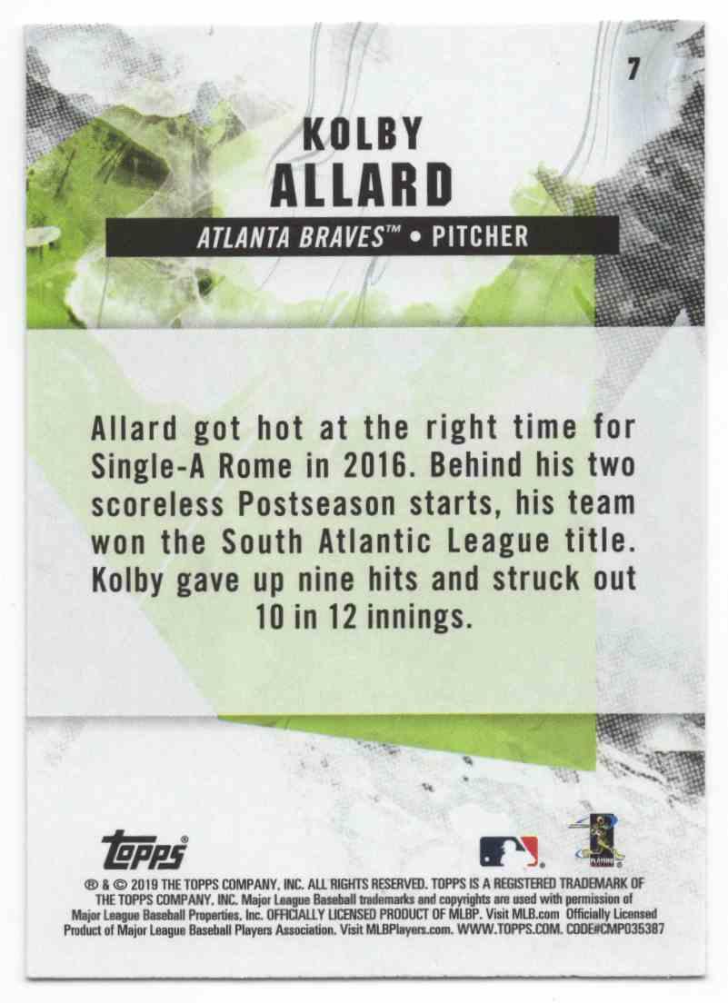 2019 Topps Fire Kolby Allard #7 card back image