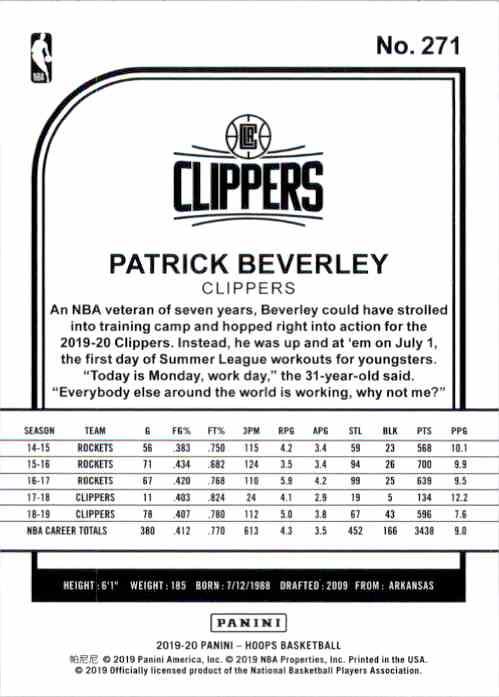 2019-20 Hoops Patrick Beverley #271 card back image