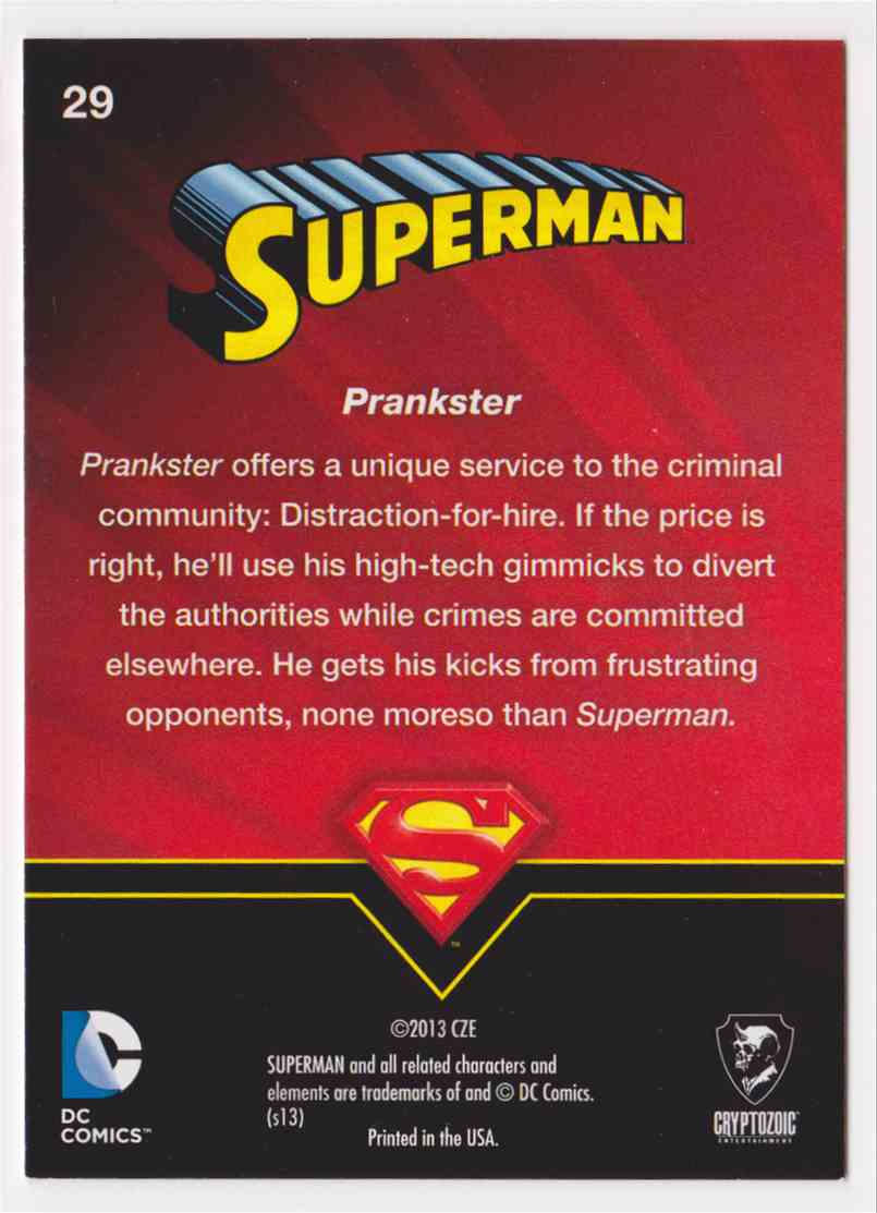 2013 Superman Cryptozoic Superman #29 card back image