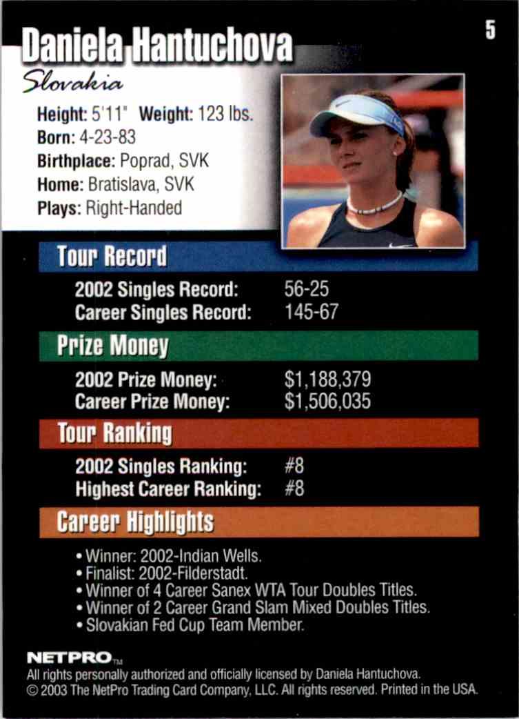 2003 NetPro Daniela Hantuchova RC #5 card back image