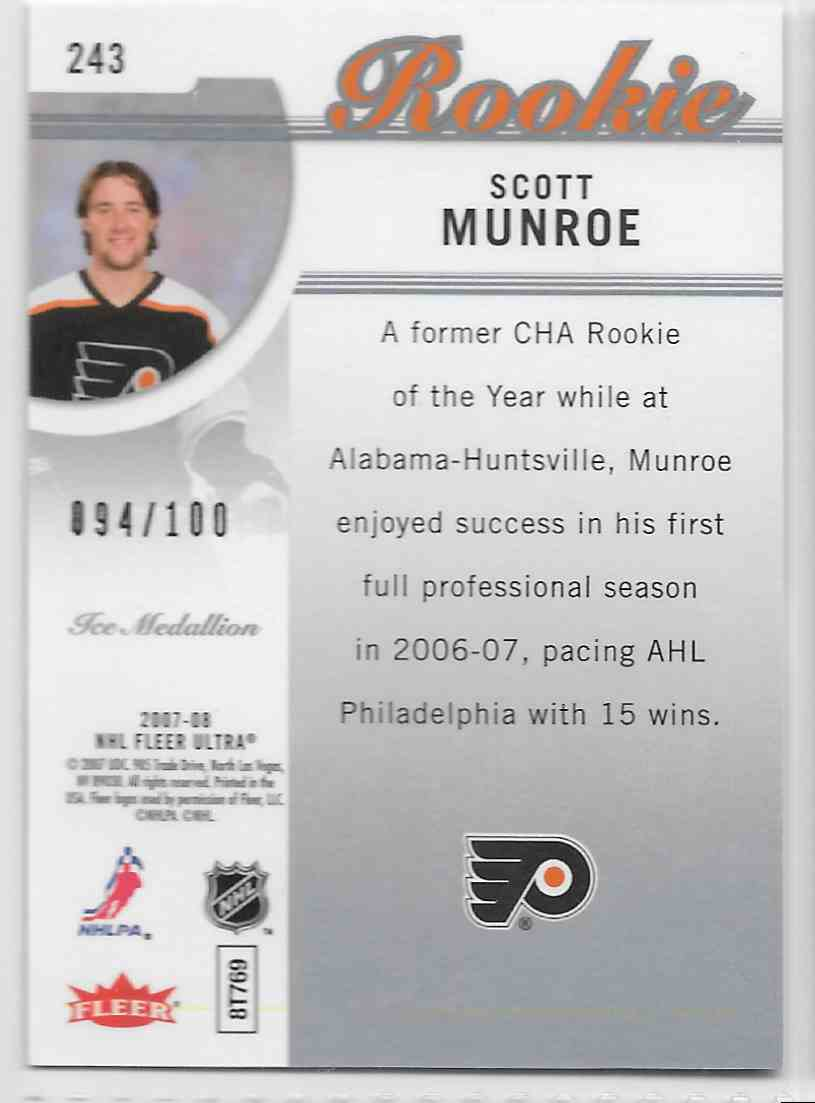 2007-08 Fleer Ultra Ice Medallion Scott Munroe #243 card back image