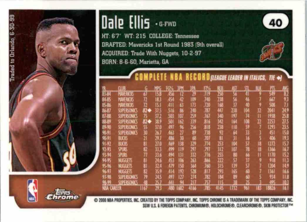 1999 00 Topps Chrome Dale Ellis 40 on Kronozio