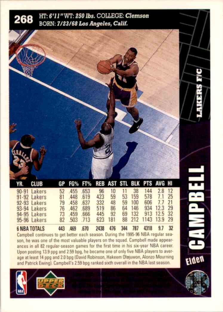 1996-97 Collector's Choice Elden Campbell #268 card back image