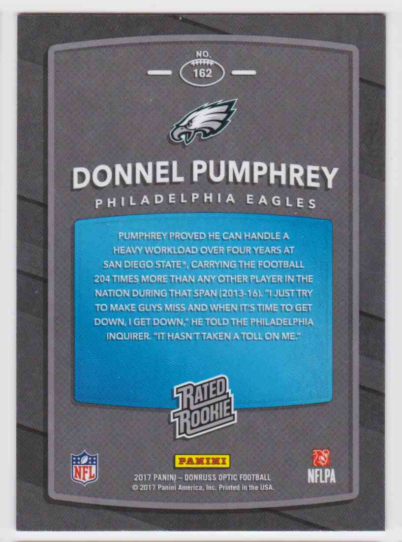 2017 Donruss Optic Rated Rookie Eagles Donnel Pumphrey #162 card back image