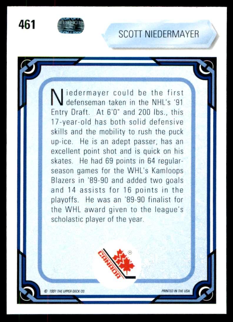 1990-91 UD Scott Niedermayer #461 card back image