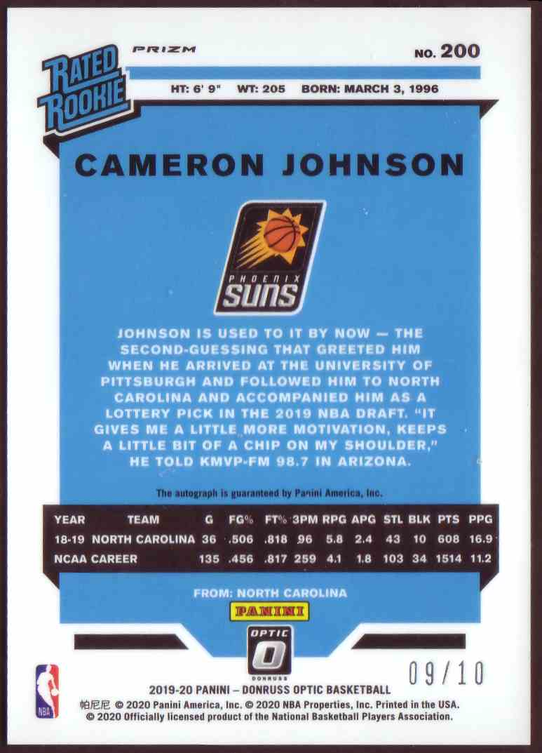 2019-20 Donruss Optic Rated Rookie Signatures Gold Cameron Johnson #200 card back image