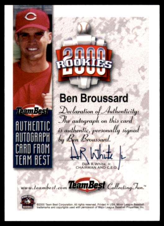 2000 Team Best Rookies Autographs Ben Broussard #10 card back image