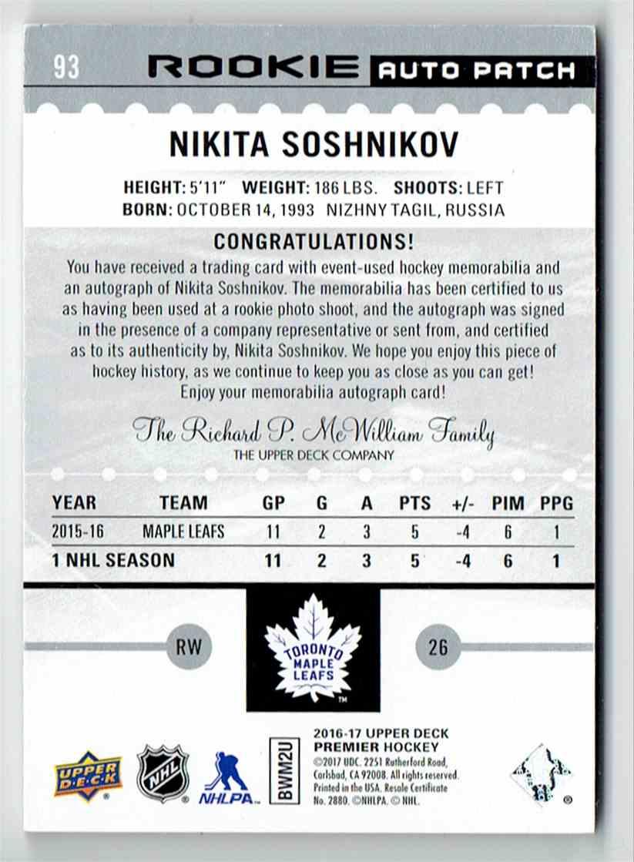 2016-17 Upper Deck Premier Nikita Soshnikov #93 card back image