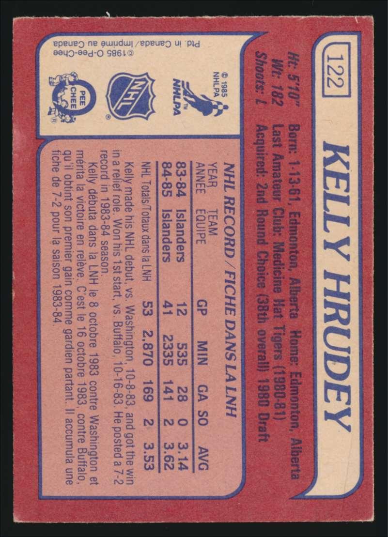 1985-86 OPC Kelly Hrudey #122 card back image
