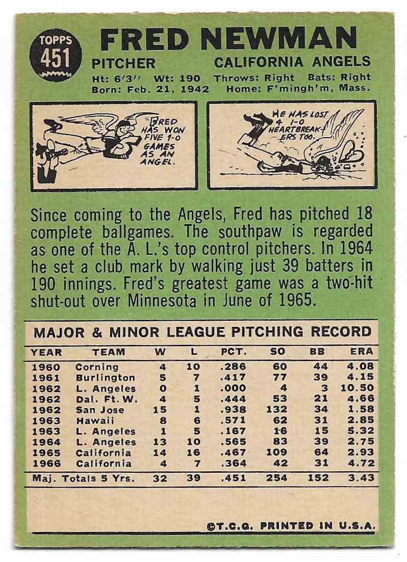 1967 Topps Fred Newman #451 card back image