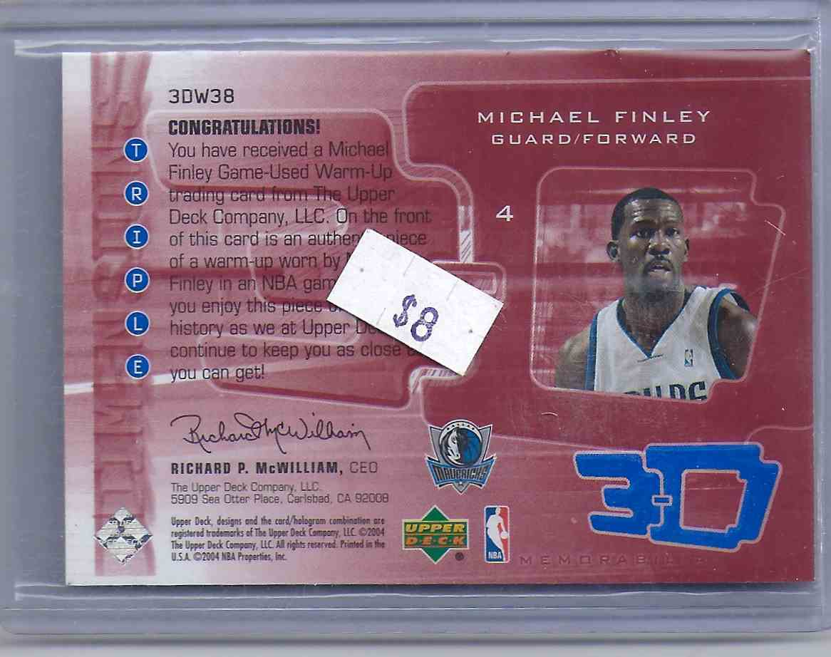 2003-04 Upper Deck Triple Dimensions 3-D Warmups Michael Finley #W38 card back image