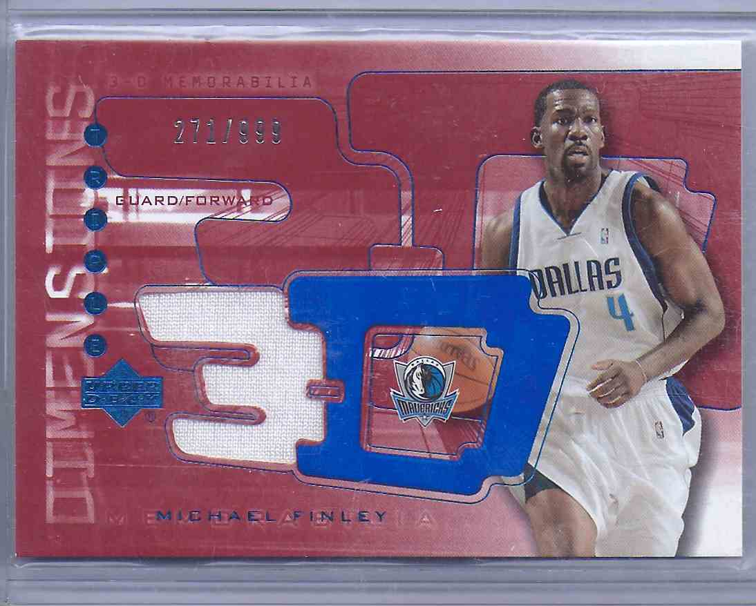 2003-04 Upper Deck Triple Dimensions 3-D Warmups Michael Finley #W38 card front image