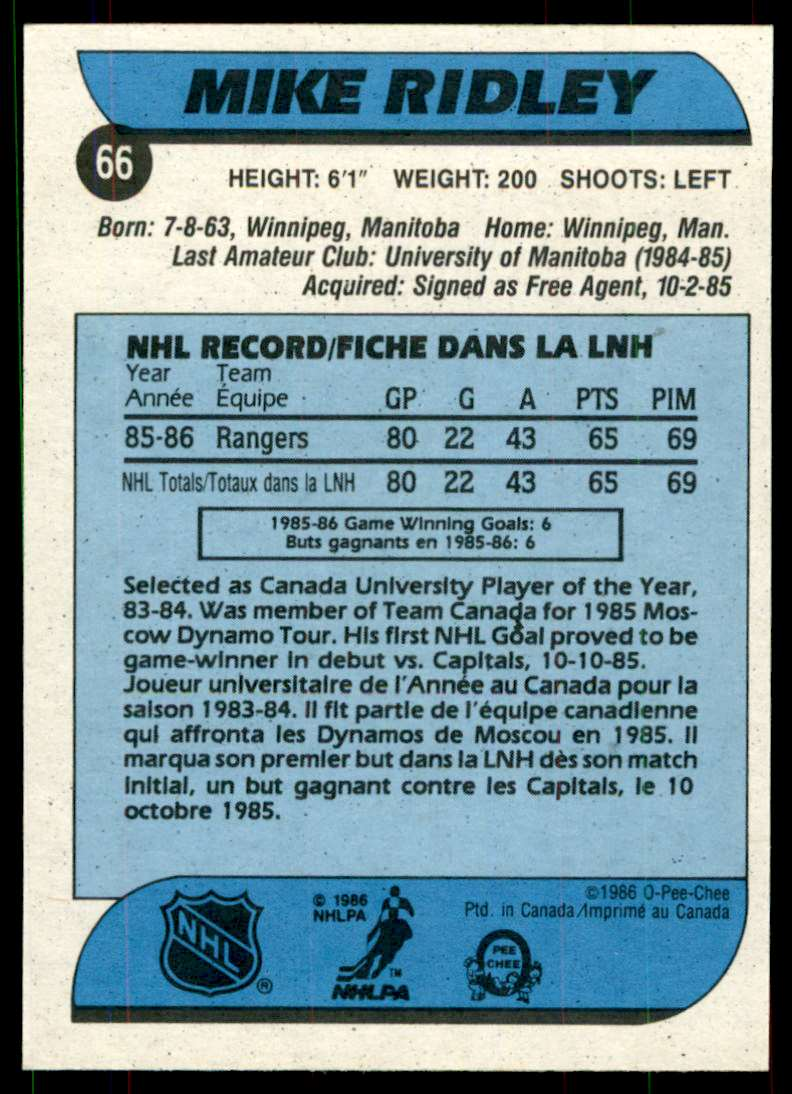 1986-87 OPC Mike Ridley #66 card back image