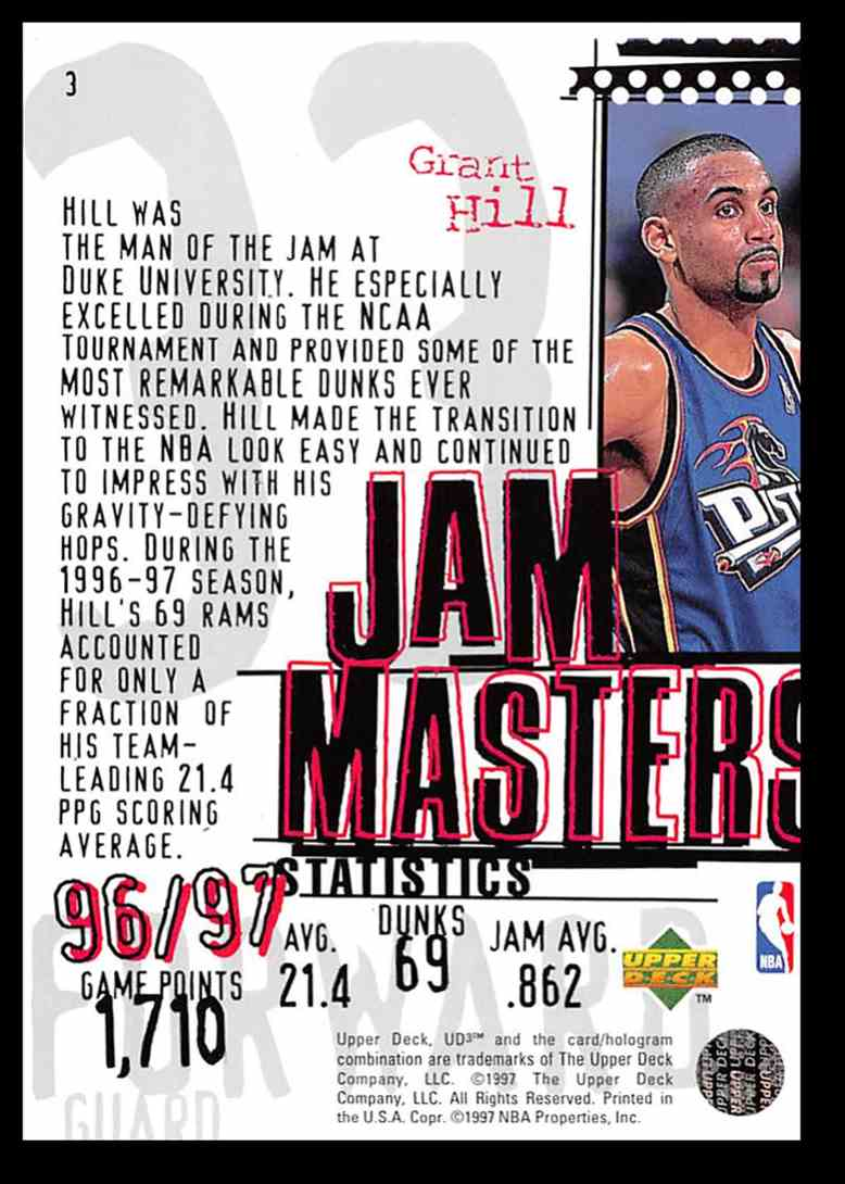 1997 98 Upper Deck Ud3 Jam Masters Grant Hill 3 On Kronozio