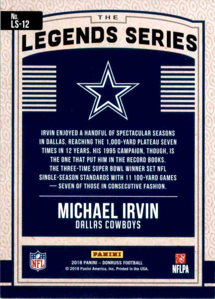 2018 Donruss Optic Legends Series Michael Irvin #LS12 card back image