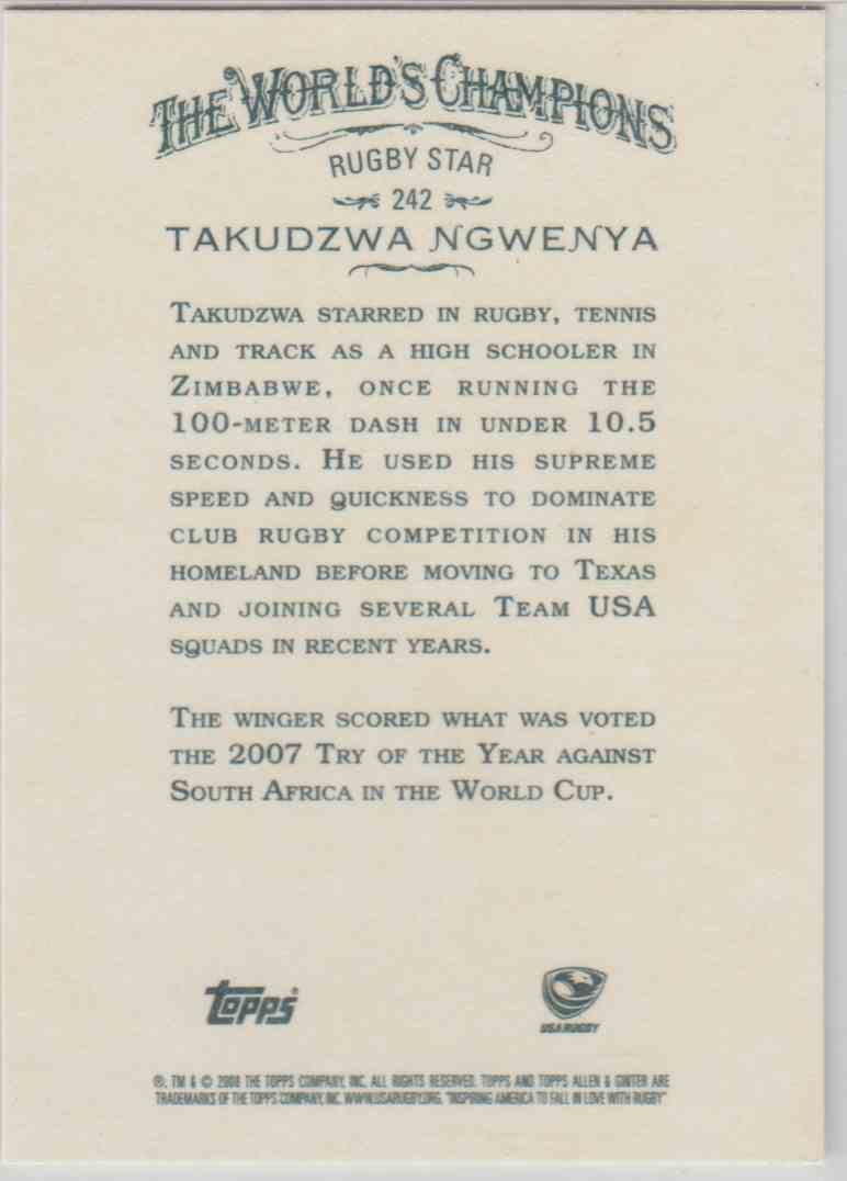 2008 Topps Allen And Ginter Takudzwa Ngwenya #242 card back image