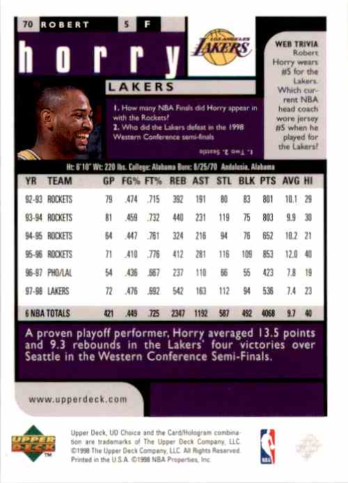 1998-99 UD Choice Robert Horry #70 card back image